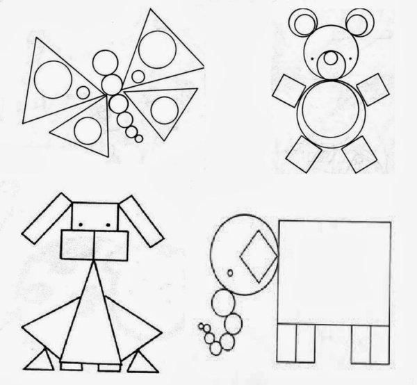 несложные картинки из геометрических фигур была изрядно